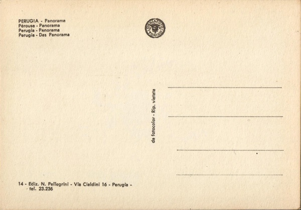 Perugia, Italy - 60s Postcard (back)
