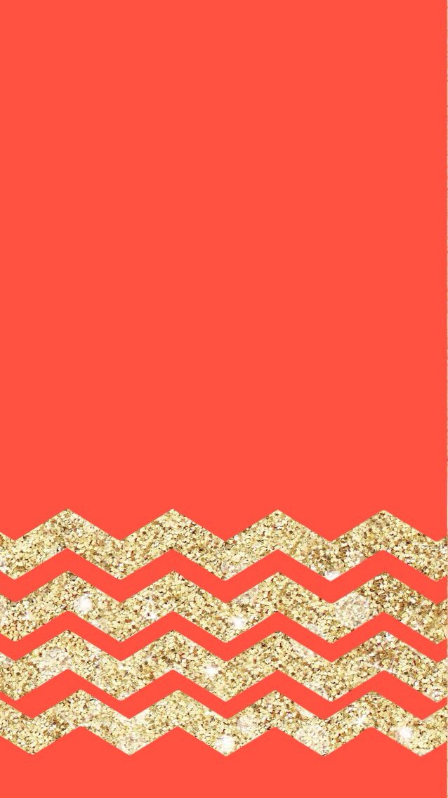red coral gold chevron glitter iphone wallpaper color
