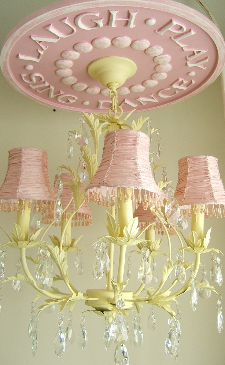 Ceiling Medallion For Kids Rooms By Marie Ricci. Shown In Pink Distressed  With Custom Yellow Chandelier   Paint Letters A Lighter Pink By Mixing  White After ...