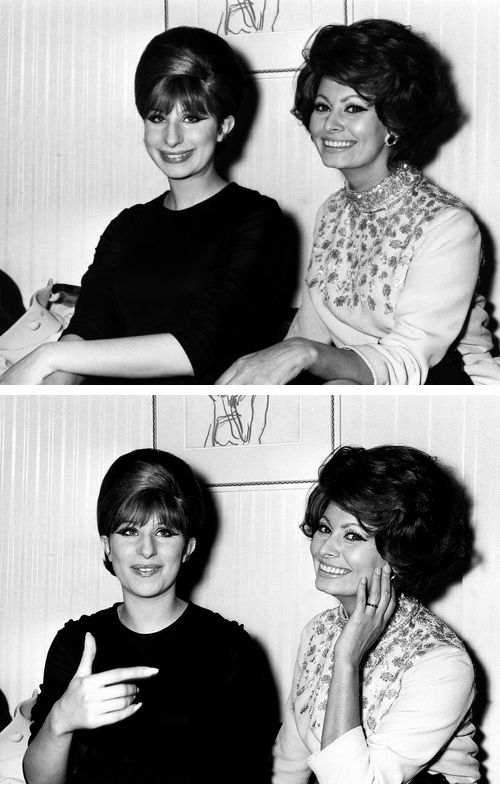 Sophia Loren with Barbra Streisand at the opening night of the stage production of Funny Girl at the Prince of Wales Theater in London, 1966.