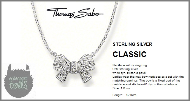 Thomas Sabo - Fall 2012 - Classic Collection - Pavé Bow Necklace (Clear)