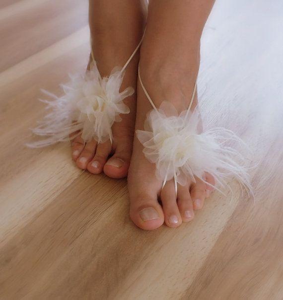 ivory Beach wedding barefoot sandals 5 pairs by WEDDINGHome, $70.00