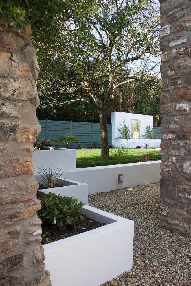 Garden Stucco Wall Landscape Modern With Stone Wall Contemporary Garden Fencing Modern Garden Contemporary Garden House Landscape