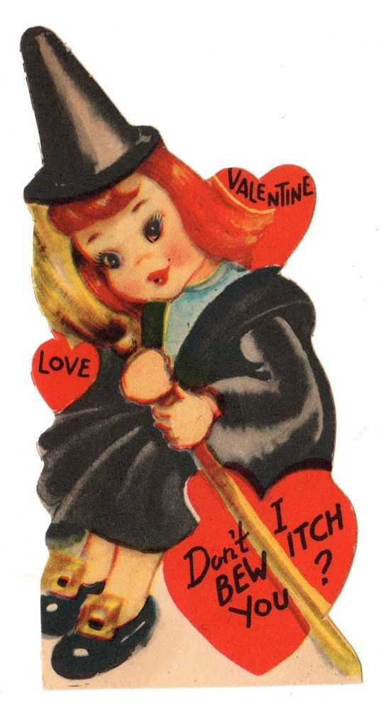 VINTAGE HALLOWEEN THEME VALENTINE CARD WITCH HOLDING HER BROOM /DO I BEWITCH YOU