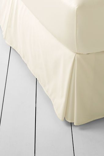 400-count No Iron Cotton Bedskirt from Lands' End - King Cream
