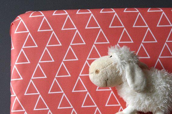 Modern crib sheets Coral PinkHoney Grey gender by NewMomDesigns