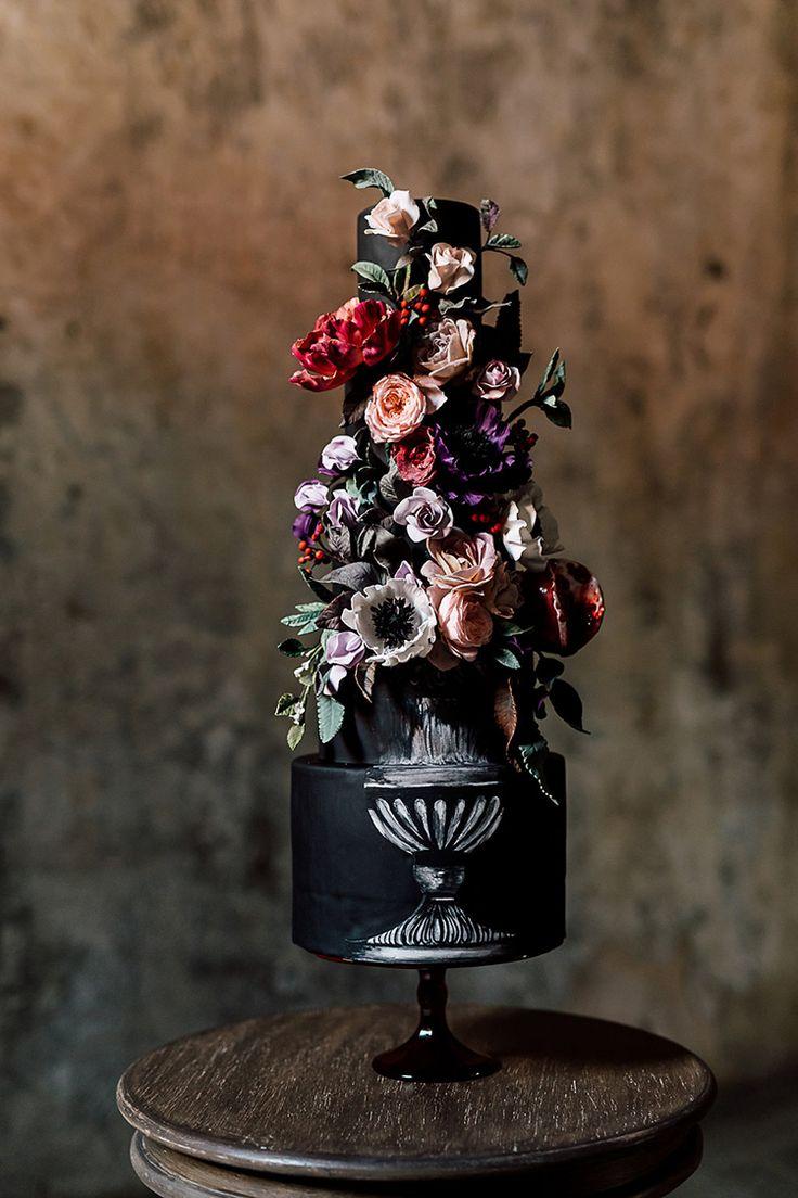 dramatic black wedding cakes - photo by Purple Tree Photography http://ruffledblog.com/dramatic-moody-wedding-inspiration-for-the-modern-bride