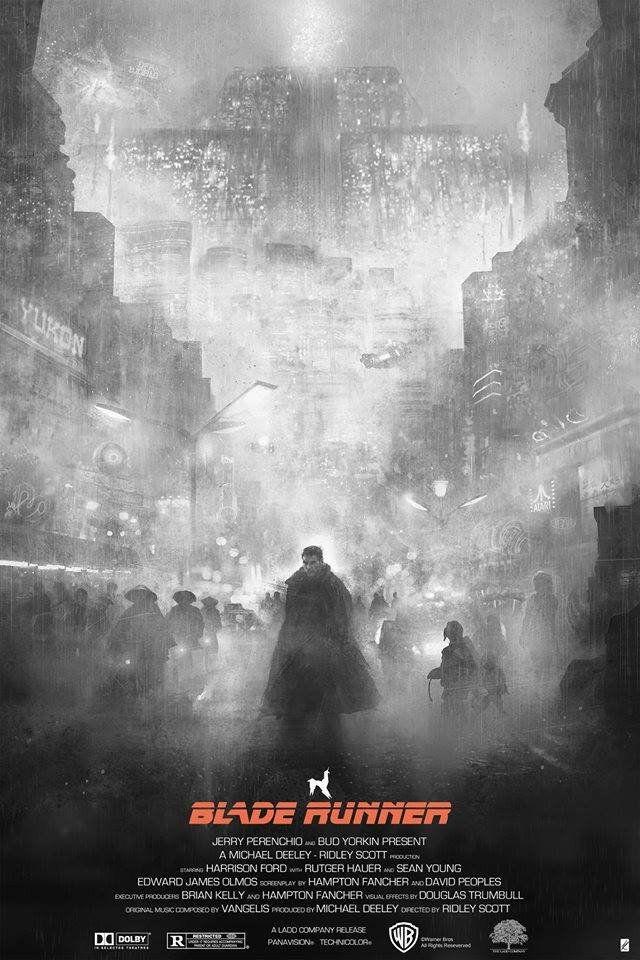 Blade Runner Black and White Screenprint by Karl Fitzgerald