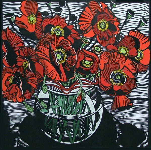 Field Poppies by Gail Kellett, 80cm w x 80cm h