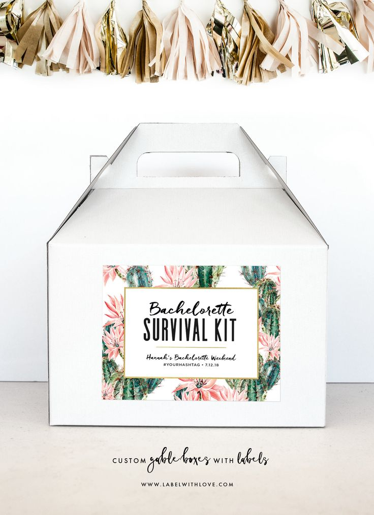 Bachelorette Party Survival Kit - Hangover Survival Kit - Palm Springs Bachelorette Gable Boxes - Cactus Bachelorette Party Decoration by LabelWithLove on Etsy https://www.etsy.com/listing/561310175/bachelorette-party-survival-kit-hangover