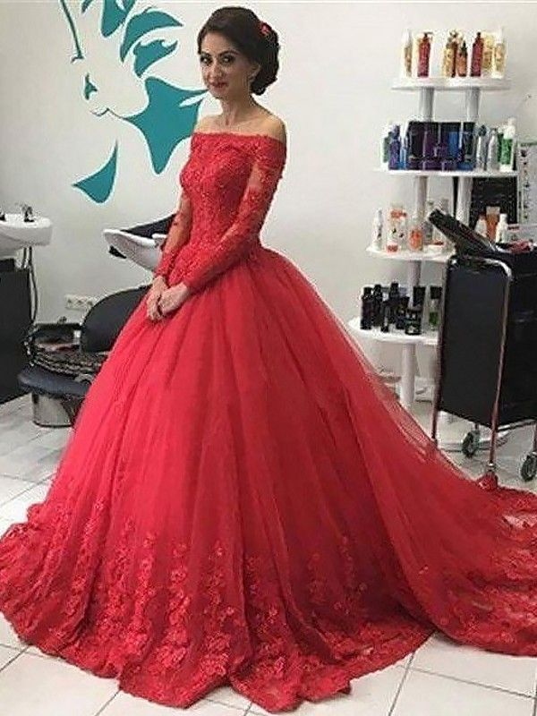 8656c53651d Fashion Ball Gown Long Sleeves Lace Off-the-Shoulder Tulle Sweep Brush  Train Dresses