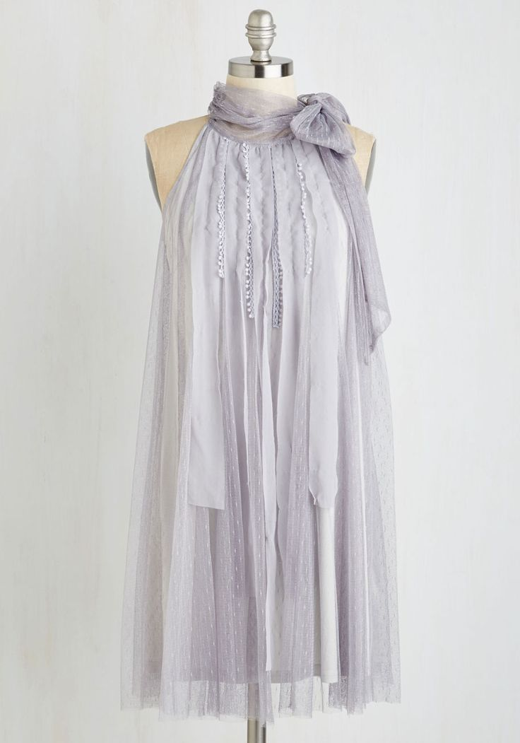 Float to the Coast Dress by Ryu - Solid, Wedding, Bridesmaid, Shift, Sleeveless, Woven, Tulle, Better, Grey, Tie Neck, Prom, Party, Homecoming, Vintage Inspired, 20s