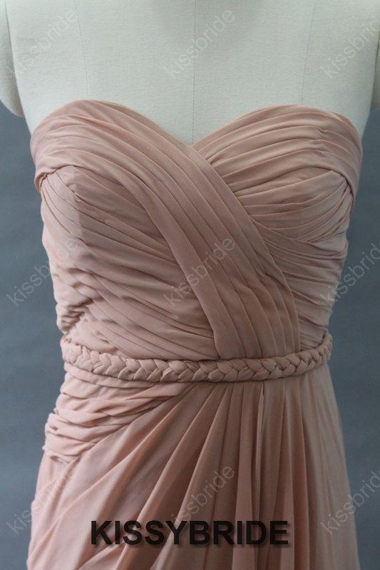 Blush bridesmaid dress  pink bridesmaid dress / long by KissyBride, $108.00
