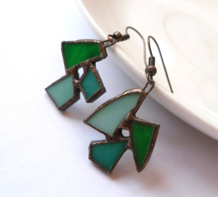Stained glass earrings jewelry green turquoise Birdie. $32.00, via Etsy.