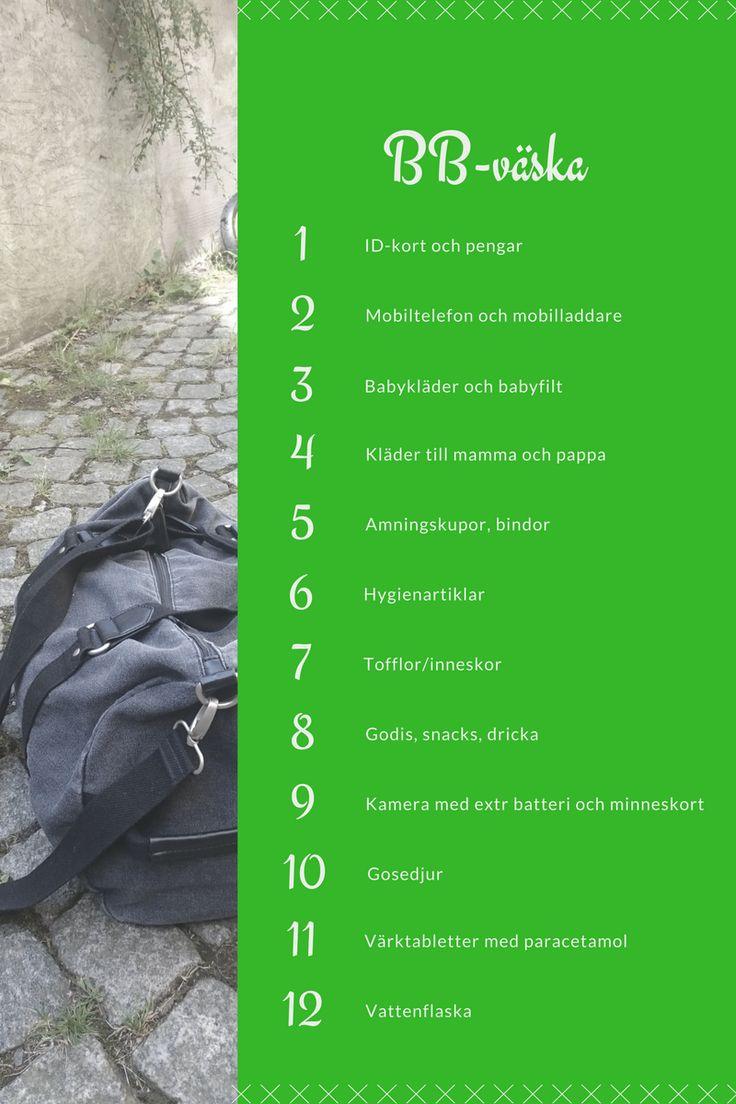 Packlista för BB-väska