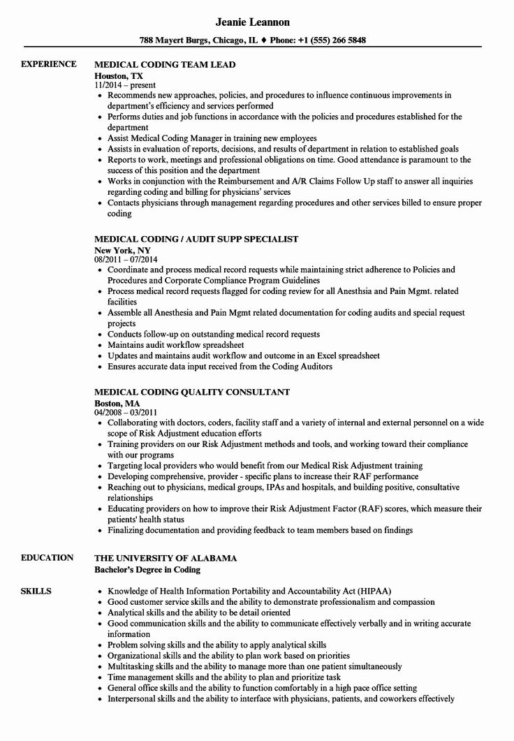 Medical Coder Resume Example Best Of Medical Coding Resume