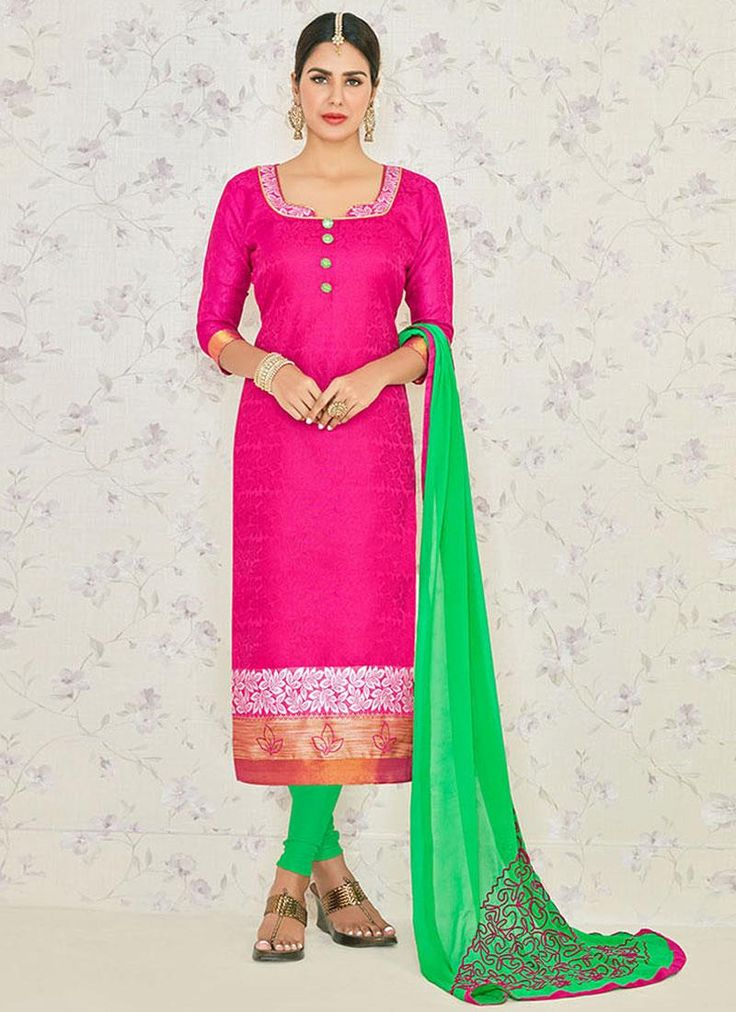 Whimsical Embroidered Work Hot Pink Jacquard Churidar Suit