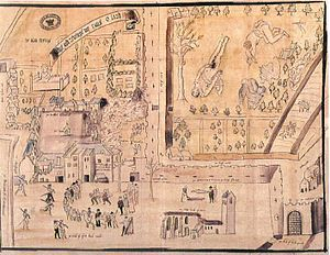 1567 drawing of Kirk o' Field immediately following the murder of Henry Stuart, Lord Darnley.