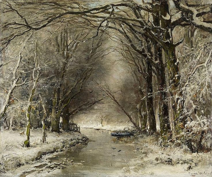APOL, LOUIS <br> The Hague 1850 - 1936 <br> <br> Winter Forest. Oil on canvas. 51,5 x 61cm. Signed lower right: Louis Apol fec. Frame… | lukisan klasik in 2019 | Pinterest | Art, Painting and Artist