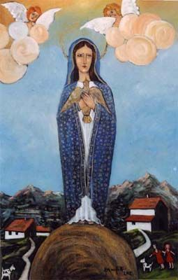 Madonna di Palazzago - olio su tavola di legno (60x100 cm)