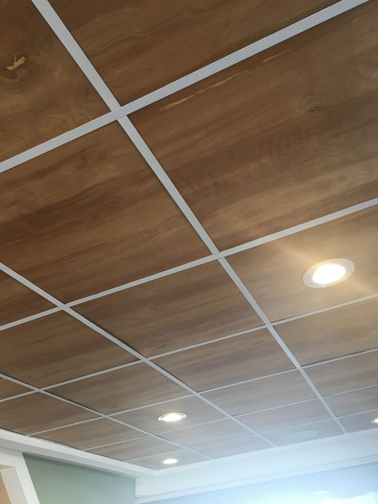Have An Ugly Drop Ceiling Try Replacing The Tiles With Plywood For This Clean