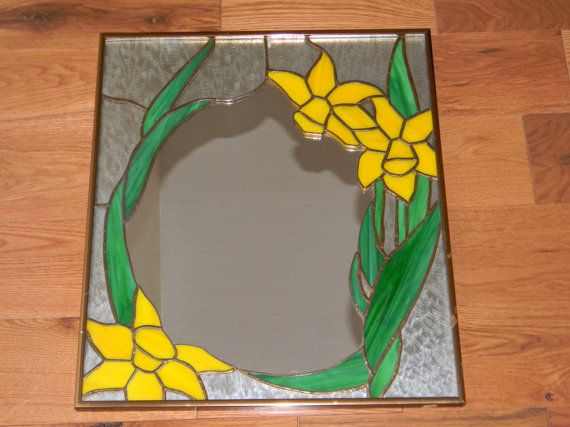 Vintage 1970's Stained Glass Mirror Yellow Lily by Firechilds