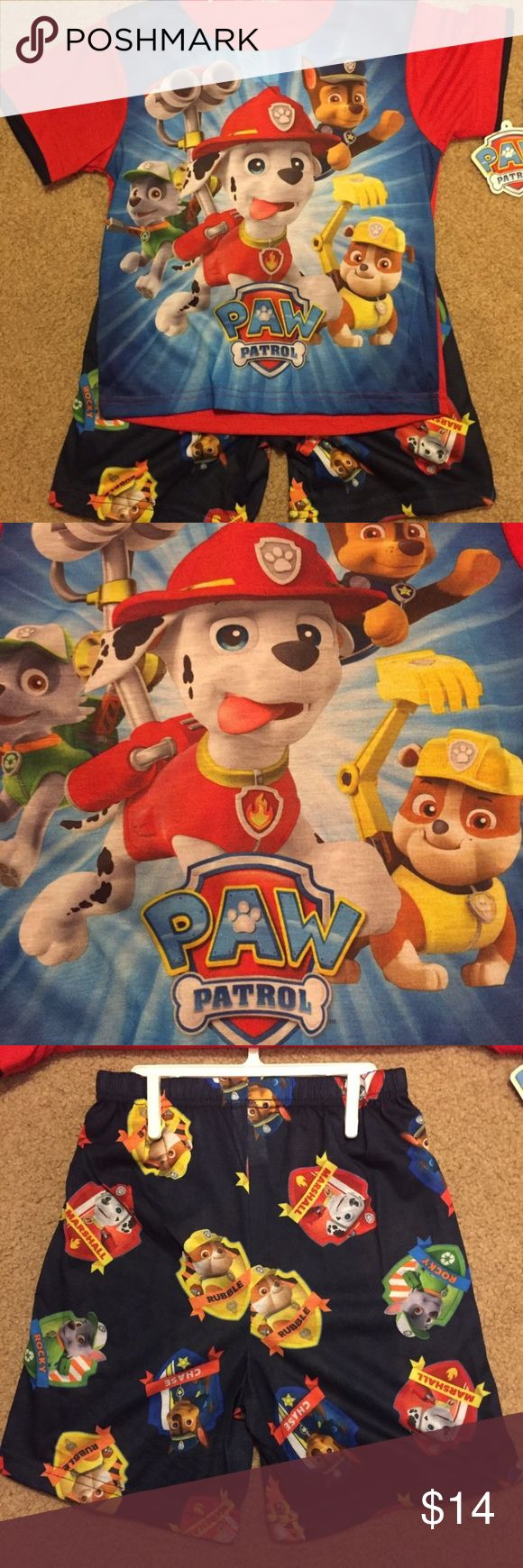 """Boys size 8 Paw Patrol summer pajama set NWT Boys size 8 Paw Patrol summer pajama set NWT. Waist shorts measures approximately21"""" unstretched. Inseam of shorts measures approximately 6"""". Nickelodeon Pajamas Pajama Sets"""