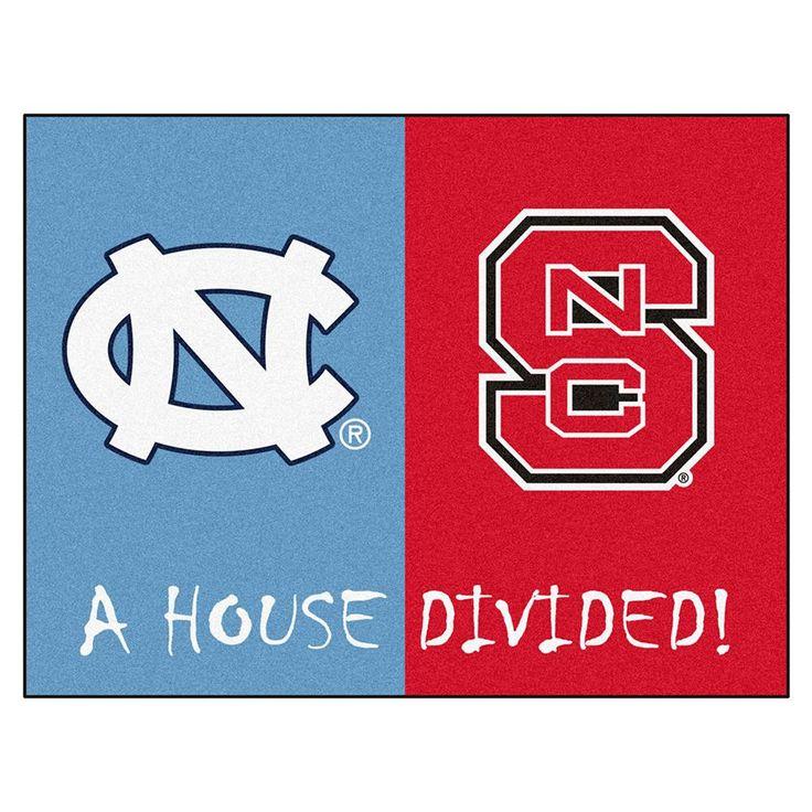 "N Carolina Tar Heels- N Carolina St Wolfpack Ncaa House Divided Ncaa ""all-star"" Floor Mat (34""x45"")"