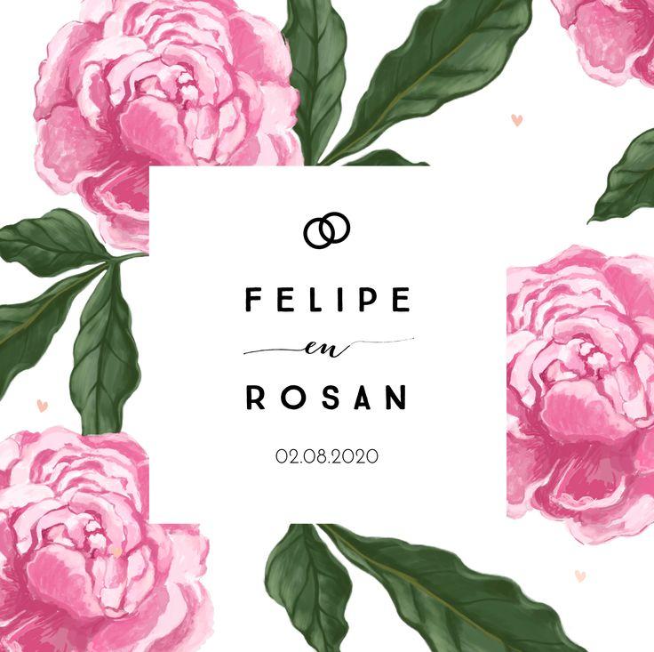Romantische trouwkaart met roze bloemen en groene bladeren.