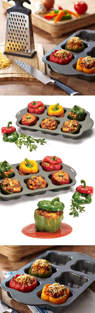 Non-stick stuffed vegetable tray // holds veggies upright so their contents stay inside. Good for peppers, tomatoes, potatoes etc. #product_design #kitchen