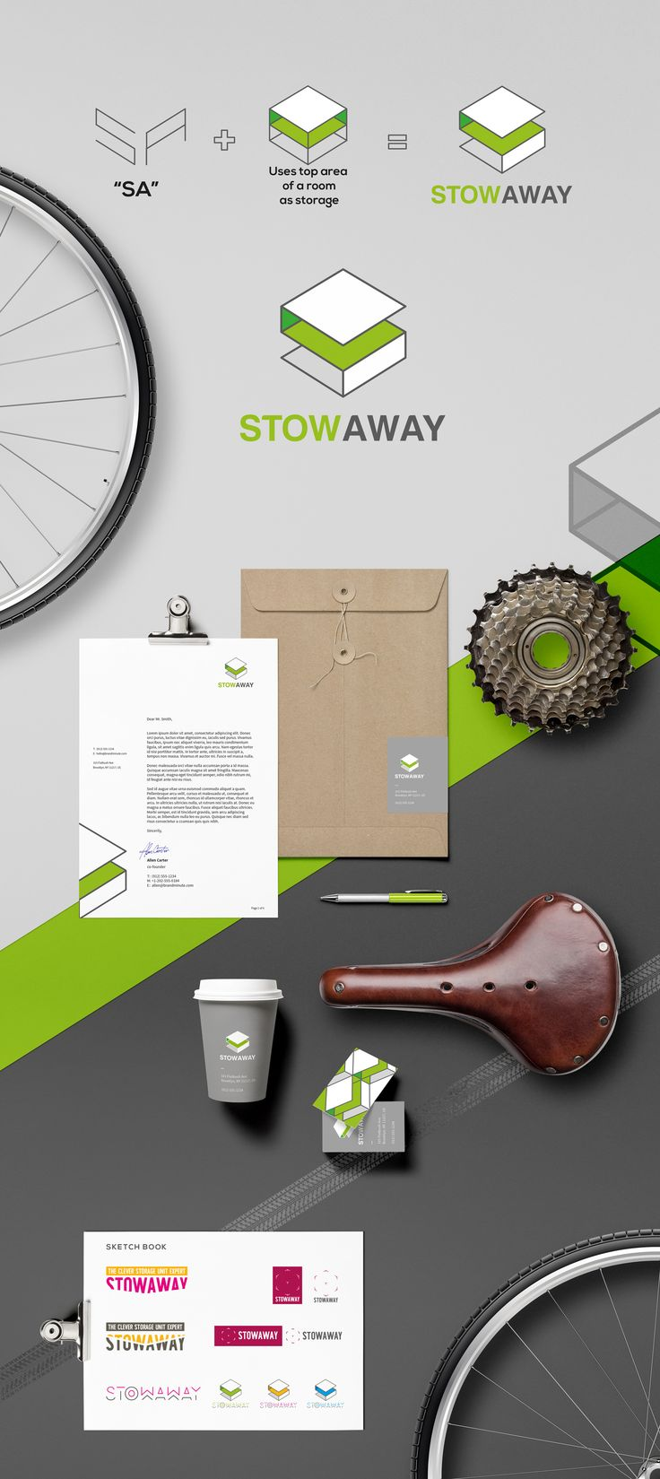 """CLIENT StowAway BRIEF Stowaway is a simple, safe, secure & minimalist solution to storing your bike in your home. They needed branding to reflect this. SOLUTION We kept with a minimalist solution to this, combining the """"S"""" and the """"A"""" motif with a graphic highlighting the top half of a room. The colors used are young, gender neutral and vibrant. RESULT Stowaway got a logo that reflects their simple, secure & minimalist ideals."""