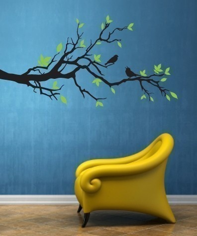 Love everything about this photo and wall decal! Love the blue! Love the chair. Give it to me!