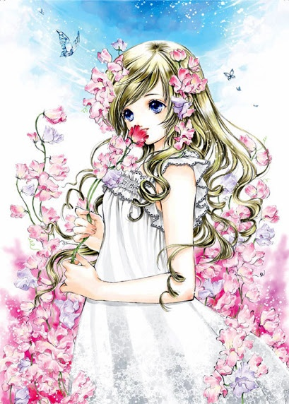 Princess with pink flowers, long blond hair, & white dress