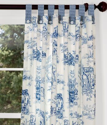 Lenoxdale Toile Button-Tab Curtains with Laurel Check