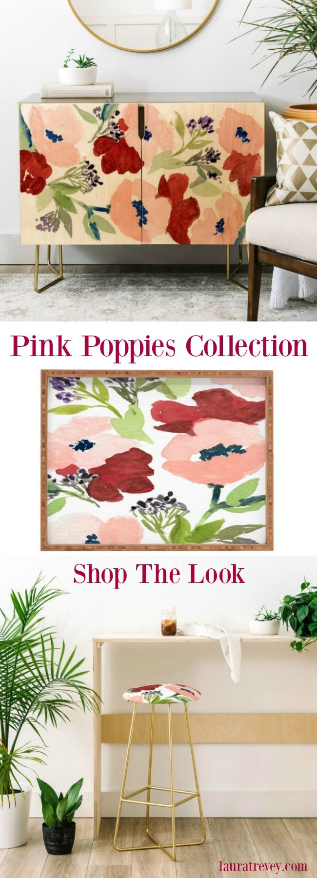 Pink Poppies Credenza and Bar Stool - Shop the Furniture and Home Decor Collection
