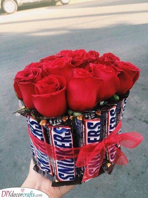 A Tasty Bouquet – Chocolates and Roses