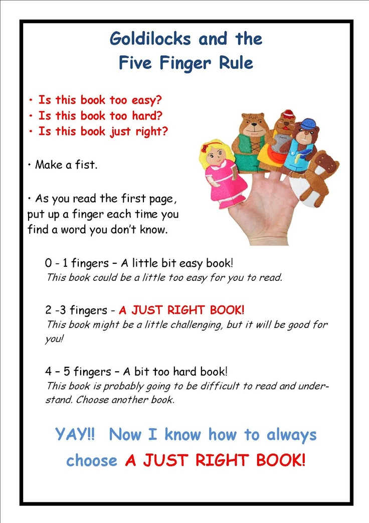 Goldilocks & the 5 Finger Rule for picking the right book