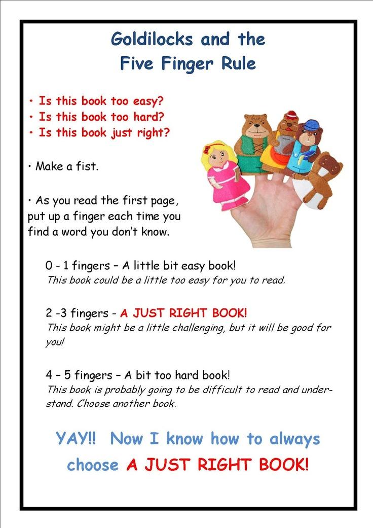 Goldilocks & the 5 Finger Rule for picking the right book
