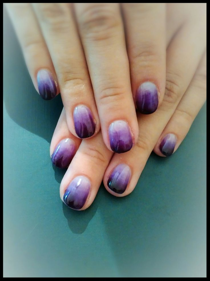 New Gel Nails ;) Deep Purple &clear Ombre. 11/10/16