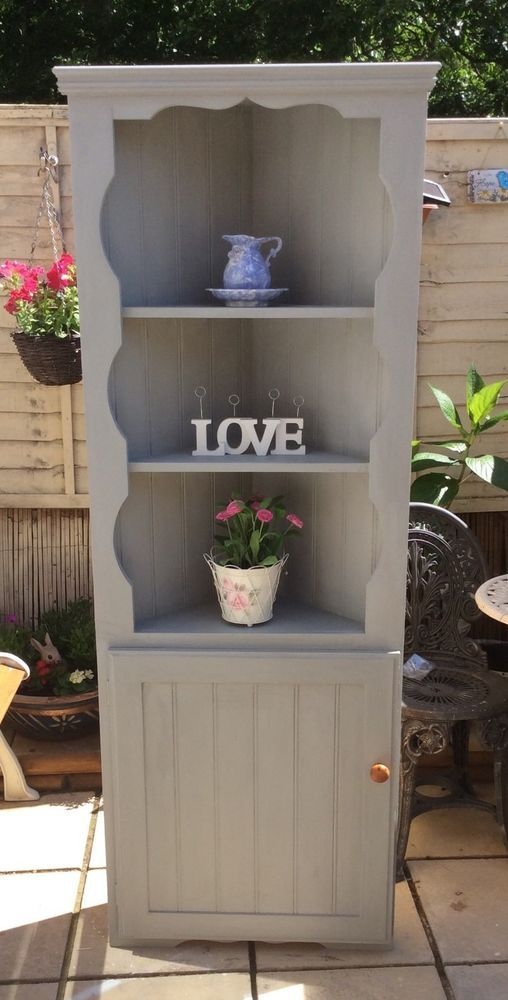 Shabby Chic Pine Corner Unit Painted In Annie Sloan Paris Grey