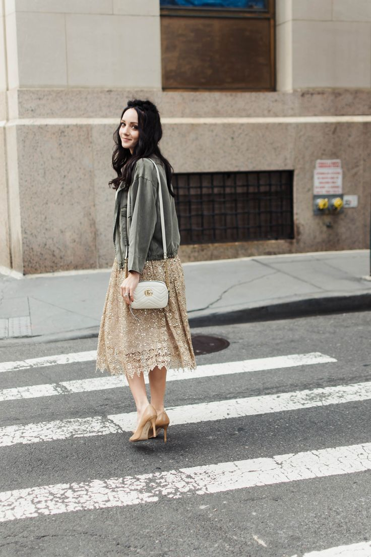 gold lace skirt white Gucci marmont olive jacket