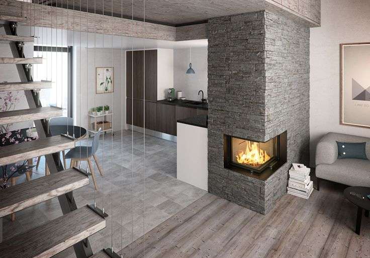 Rais Visio2 Wood Burning Built-In Corner Stove