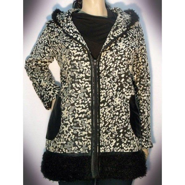 Chaqueton Dublin CD3205. Abrigo jaspeado con capucha. Este abrigo se fabrica desde la talla 42 hasta la 66. Moda en talla grande