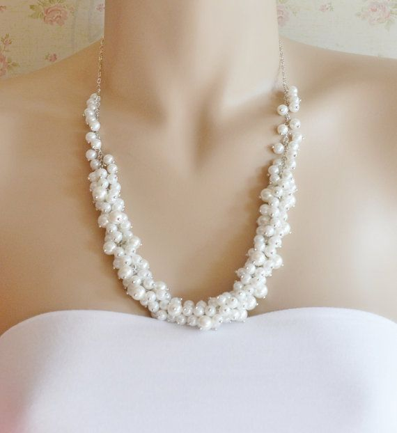 White Cluster Pearl Necklace,Pearl Necklace,Bridal Jewelry, Chunky Pearl Necklace, Cluster Necklace,Chic,Bridesmaid White Pearl Necklace on Etsy, $25.00