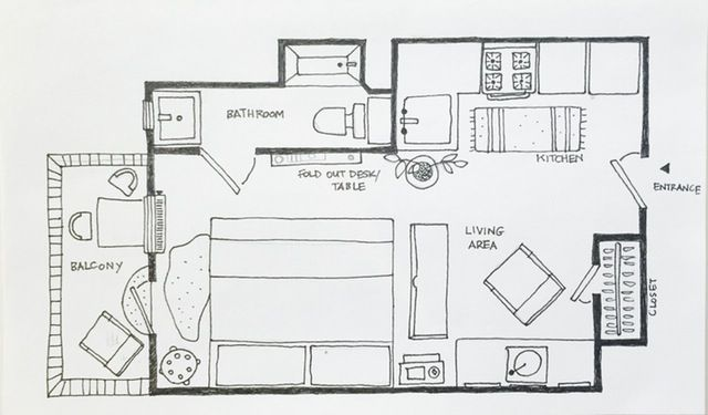 Best 25 apartment layout ideas on pinterest small for Studio apartment floor plans furniture layout