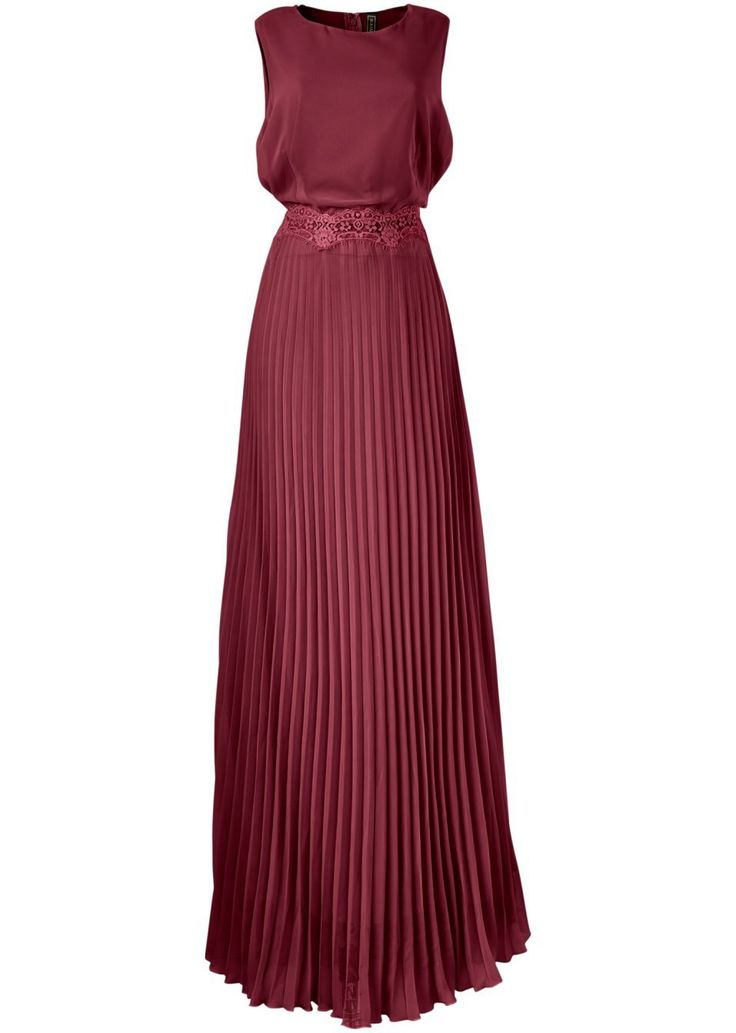Přesvědčivě ženské! Elegantní šaty bez rukávů, s kulatým výstřihem u krku, s jemnými sklady od pasu dolů. S postranním zipem. Délka ve vel. 38 cca 146 cm. Vrchový materiál: 100% polyester; Podšívka: 100% polyester; Krajka: 100% polyamid