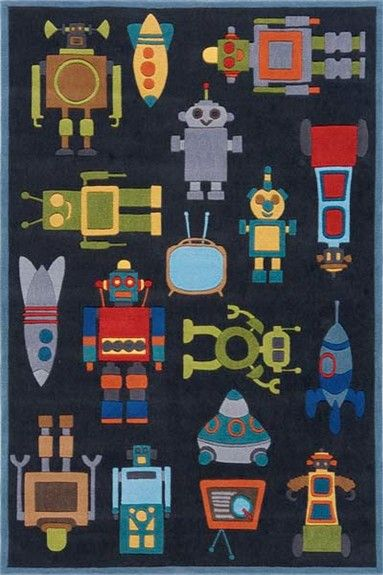 How fun is this Robots rug for a boy's room?