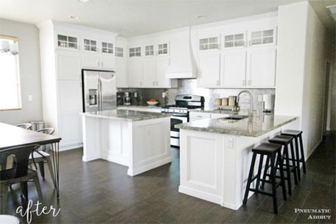white kitchen makeover with stacked cabinets