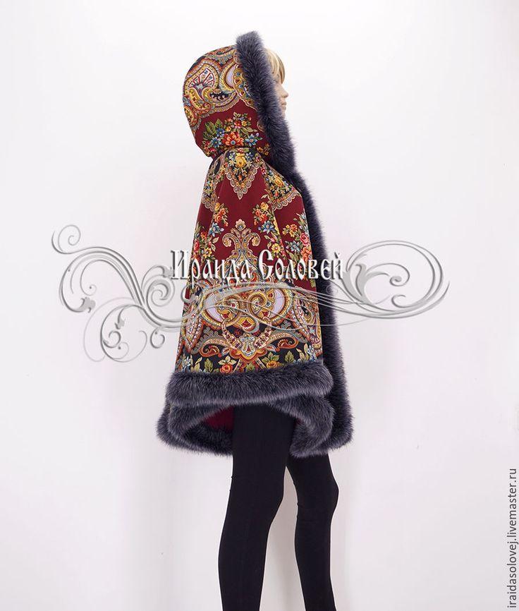 """Купить Пальто-накидка с отстегивающимся капюшоном """"Майя-2"""" из ПП шалей - бордовый, цветочный"""