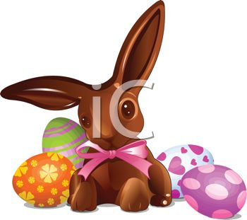Royalty Free Clipart Image Of A Chocolate Easter Bunny With Eggs
